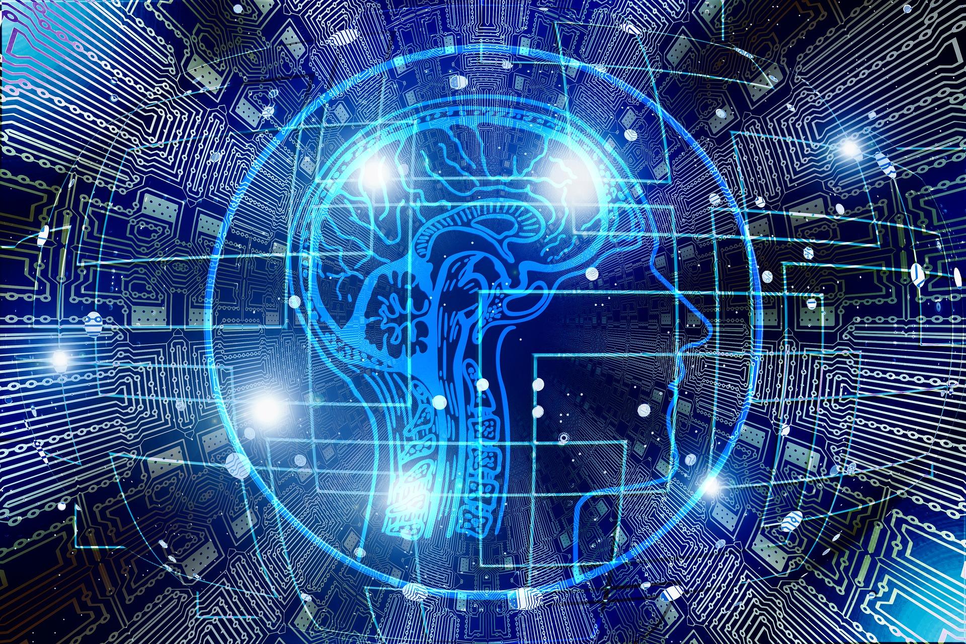 Imagem de cérebro sobreposto por linhas elétricas, denotando tecnologia